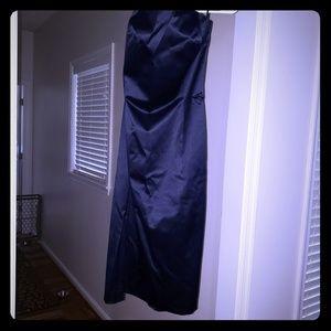 Navy blue strapless satin dress